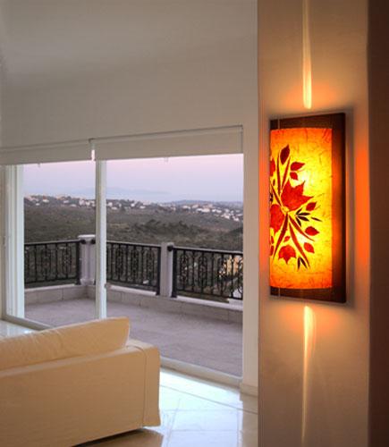 Φωτιστικό τοίχου απλίκα πορτοκαλί με ύφασμα και φύλλα
