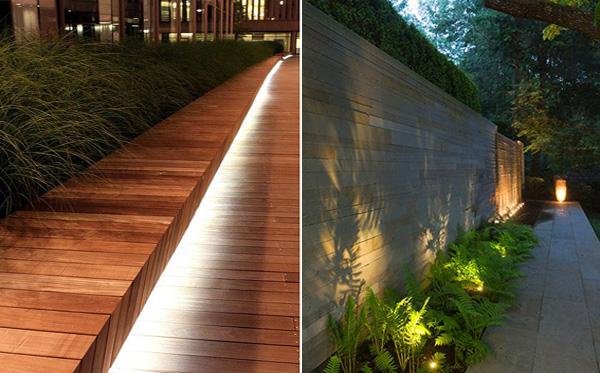 Ιδέες φωτισμός κήπου φράκτη φυτών