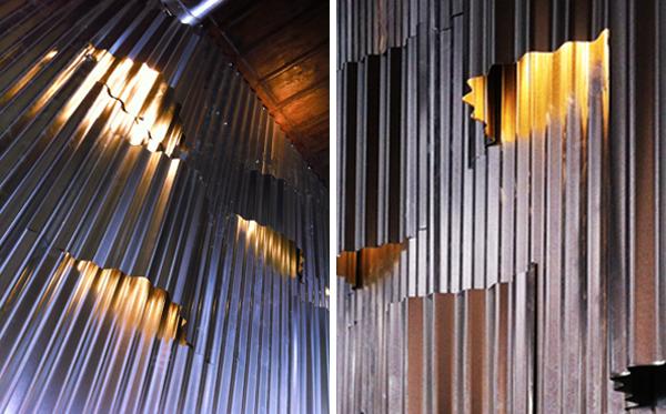Wall lighting installation for cafe bar