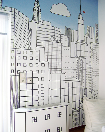 Teenager room big city mural