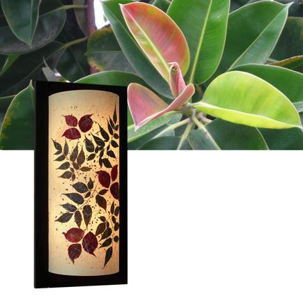 Φωτιστικό απλίκα τοίχου με ύφασμα και φύλλα