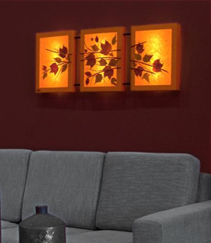 Τριπλός πίνακας φωτιστικό τοίχου απλίκα με φύλλα