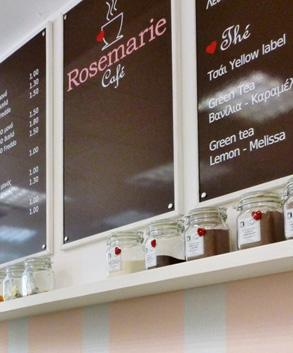 Coffee boards in a bakery shop