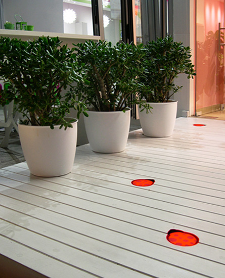 Wooden deck with built-in lighting
