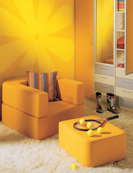 Set decoration yellow wall mural