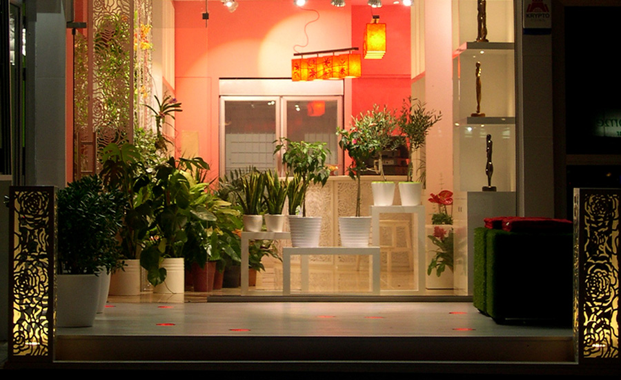 Flower shop window display and outdoor lighting