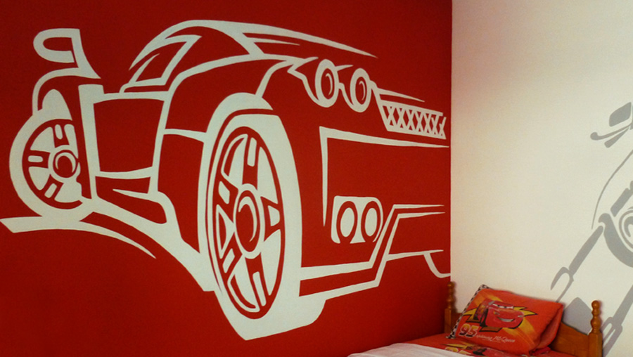 Boy's room wall mural