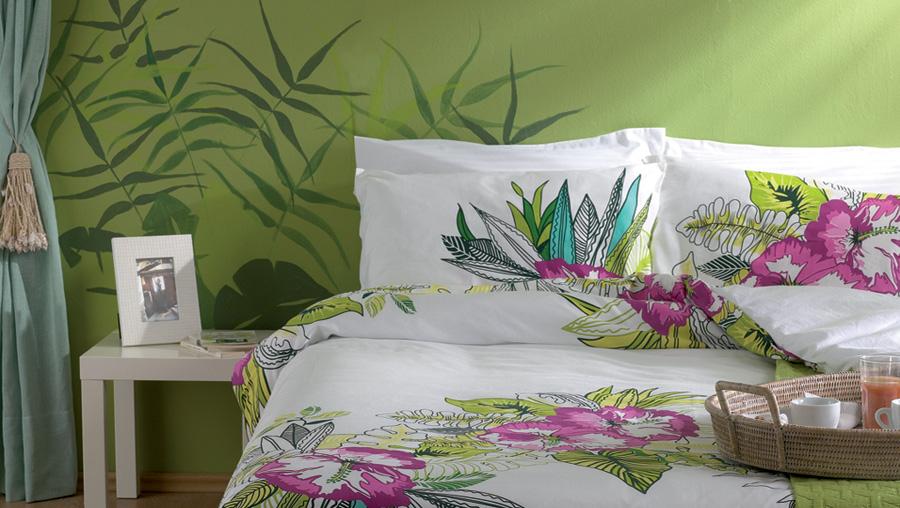 Ιδέες τοίχος λουλούδια υπνοδωμάτιο