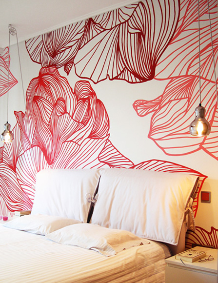 Bedroom floral wall painting