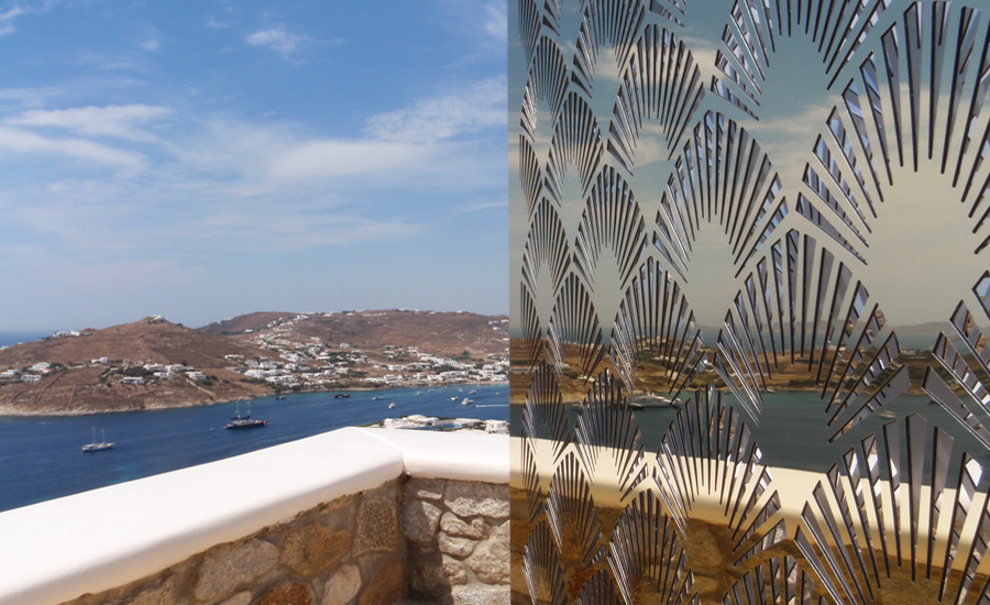 Mykonos gold mirror panel decoration design