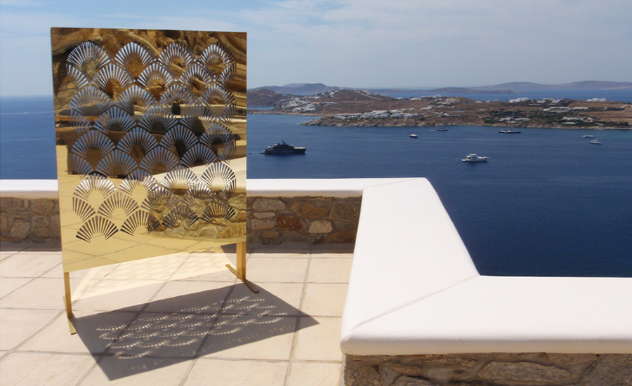 Mykonos villa special cut decorative gold mirror lighting