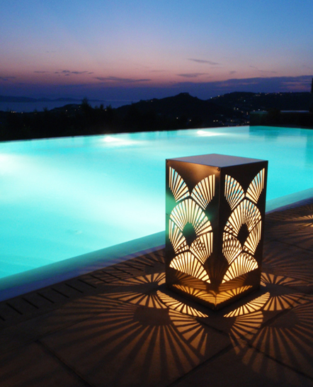 Special cut metal lamp in a Mykonos poolside party