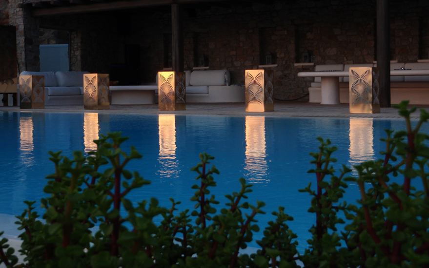 Mykonos poolside gold mirror metal lighting