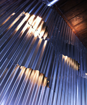 Corrugated iron lighted wall