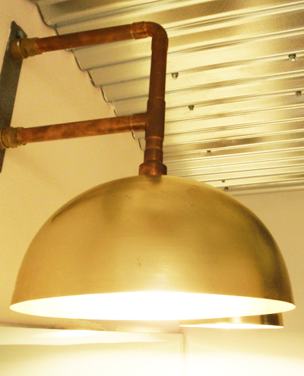 Copper and gold wall lamps