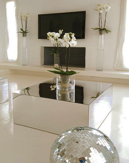 Τραπέζάκι σαλονιού σε τετράγωνη φόρμα με καθρέπτη