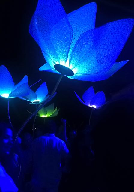Φωτιστικά λουλούδια διακόσμησης γαμήλιας εκδήλωσης