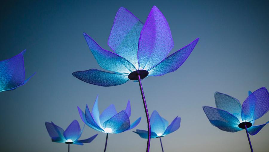 Φωτιστικά λουλούδια εγκατάσταση γαμήλιας εκδήλωσης