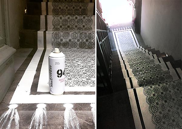 Διακόσμηση τσιμεντένιου δαπέδου με stencil