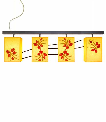 Φωτιστικό κρεμαστό τραπεζαρίας σαλονιού με ύφασμα και φύλλα