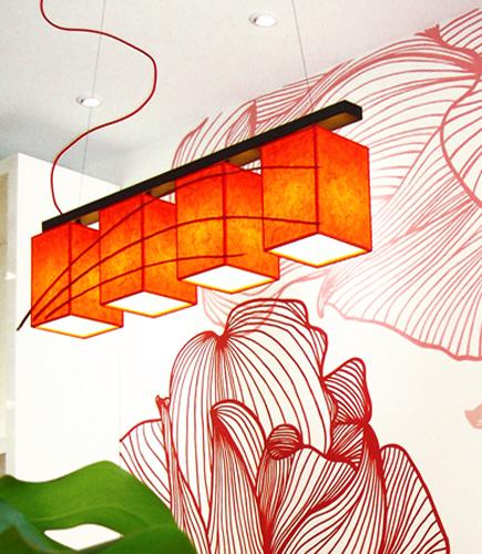 Κρεμαστό φωτιστικό τραπεζαρίας σαλονιού κόκκινο
